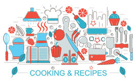 现代平的稀薄的线设计厨房烹调和网横幅网站的食谱概念 库存图片