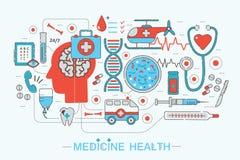 现代平的稀薄的线设计科学医疗医疗保健概念 库存例证