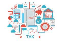 现代平的稀薄的线设计税收税网横幅网站、介绍、飞行物和海报的概念 免版税库存图片