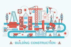 现代平的稀薄的线设计建筑和建筑师大厦概念 库存例证