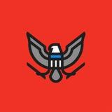 现代平的线风格化美国老鹰纹章标志  免版税库存图片