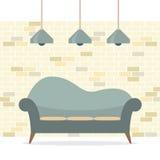 现代平的设计沙发内部 免版税库存照片