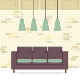 现代平的设计沙发内部 免版税图库摄影