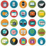 现代平的象导航与长的屏蔽效应的汇集在网络设计对象的时髦的颜色,事务,办公室 免版税库存图片