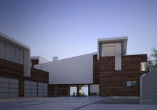 现代当代房子外部在黎明 皇族释放例证
