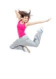 现代微小的节律唱诵的音乐样式十几岁的女孩跳跃的跳舞 免版税库存图片