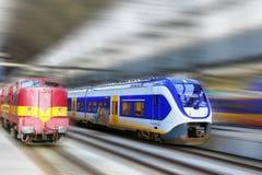 现代快速的旅客列车。行动作用 免版税库存照片