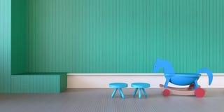 现代戏剧室和长凳在绿色wall/3d翻译戏弄 库存照片