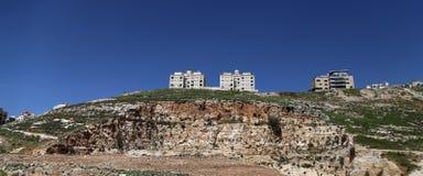 现代房子阿曼,约旦的看法 免版税库存图片