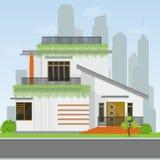 现代房屋建设 详细的舒适房子的例证 库存图片