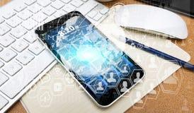 现代手机丝毫数字式图和屏幕连接 免版税库存照片