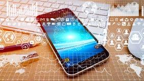现代手机丝毫数字式图和屏幕连接 库存照片