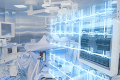现代技术在医院手术室 免版税库存图片