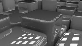 现代抽象背景蓝蓝立方体, 3d光滑的发光的块背景,箱子, 3d回报 免版税库存图片