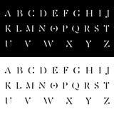 现代按字母顺序的字体传染媒介例证 免版税库存照片