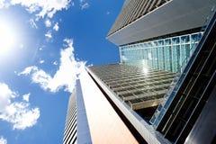 现代摩天大楼在商业区Poblenou,巴塞罗那 免版税库存图片