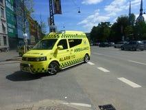 现代救护车哥本哈根 免版税库存照片