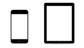 现代数字式电话和片剂在白色背景 免版税库存图片