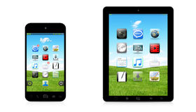 现代数字式电话和片剂在白色背景3D翻译 免版税库存照片