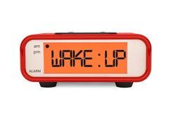 现代数字式闹钟与叫醒标志 免版税库存照片