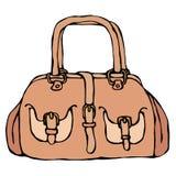 现代时尚袋子或钱包女性辅助部件 时兴和时髦提包 隔绝在一次白色背景乱画 向量例证