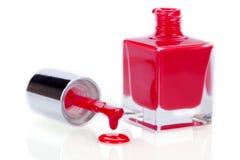 现代时髦的红色指甲或亮漆 库存照片