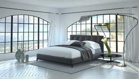 现代明亮和通风卧室内部 免版税库存照片