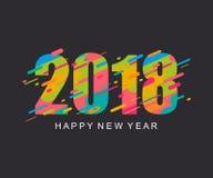 现代明亮的新年快乐2018设计卡片 免版税库存照片