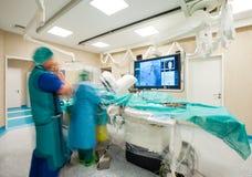 现代显示器手术腹腔镜心脏 库存照片