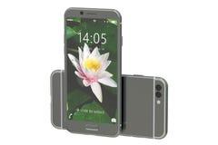 现代智能手机前面和后面视图, 3D翻译 库存照片