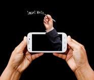 现代智能手机在手中 免版税库存照片