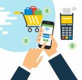 现代智能手机的例证有处理的从信用卡的流动付款在屏幕上 免版税库存照片