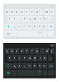 现代智能手机键盘,字母表按钮 传染媒介黑暗和轻的键盘 免版税图库摄影