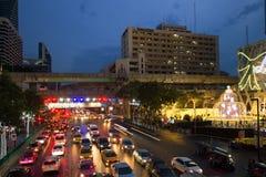 现代曼谷,泰国晚上风景  库存图片