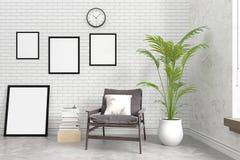 现代有空白的照片框架的, 3D砖内墙例证 免版税图库摄影