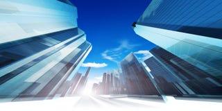现代未来派城市 免版税库存图片