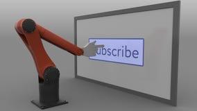 现代机器人胳膊推挤订阅按钮 自动化的社会媒介促进概念 无缝的圈, 4K夹子, ProRes 库存例证