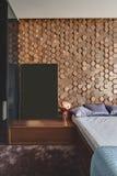 现代样式的卧室 免版税库存照片