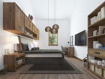 现代样式的大卧室与一个土气顶楼的元素 库存图片