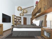 现代样式的大卧室与一个土气顶楼的元素 免版税库存图片