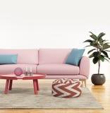 现代桃红色沙发在一个新鲜的客厅 库存照片