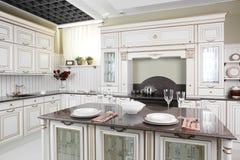 现代欧洲厨房内部 免版税库存照片