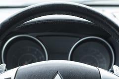 现代汽车仪表板特写镜头 库存图片