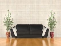 现代沙发在客厅 免版税库存图片