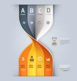 现代沙子时钟螺旋信息图表选择。 库存图片
