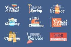 现代清洁和配管服务标签,商标,徽章设置了与洗涤,海绵家庭概念传染媒介例证 图库摄影