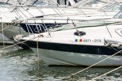 现代游艇和小船口岸  库存图片
