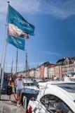 现代游艇在哥本哈根 库存照片