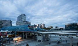 现代火车站的看法在Sloterdijk,阿姆斯特丹 库存照片