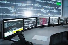 现代电子控制室、科学技术backgrou 免版税图库摄影